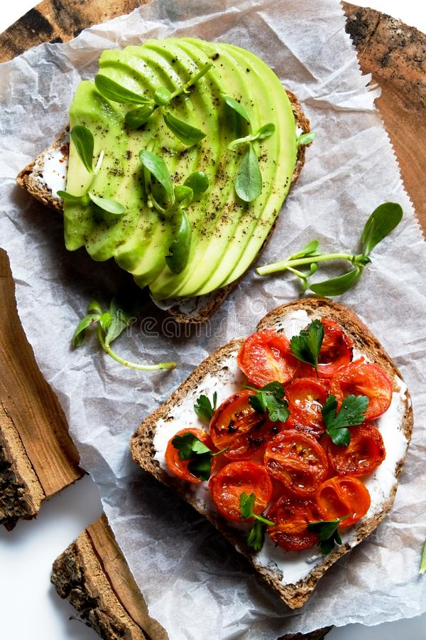 Clean eating concept. Sandwich with organic ingredients royalty free stock images
