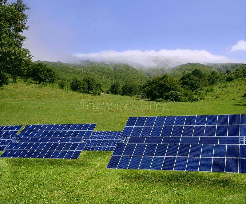 Download Clean Electric Energy Solar Plates In Meadow Stock Photo - Image: 11475796
