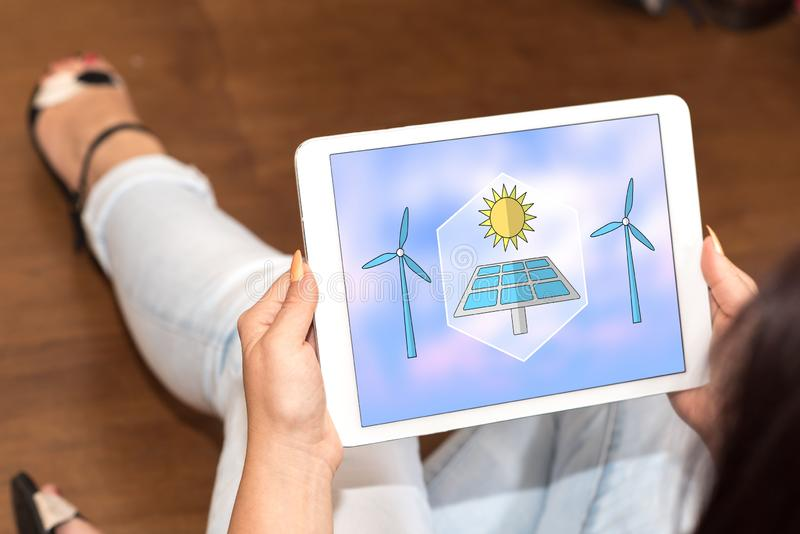 Clean energy concept on a tablet stock images