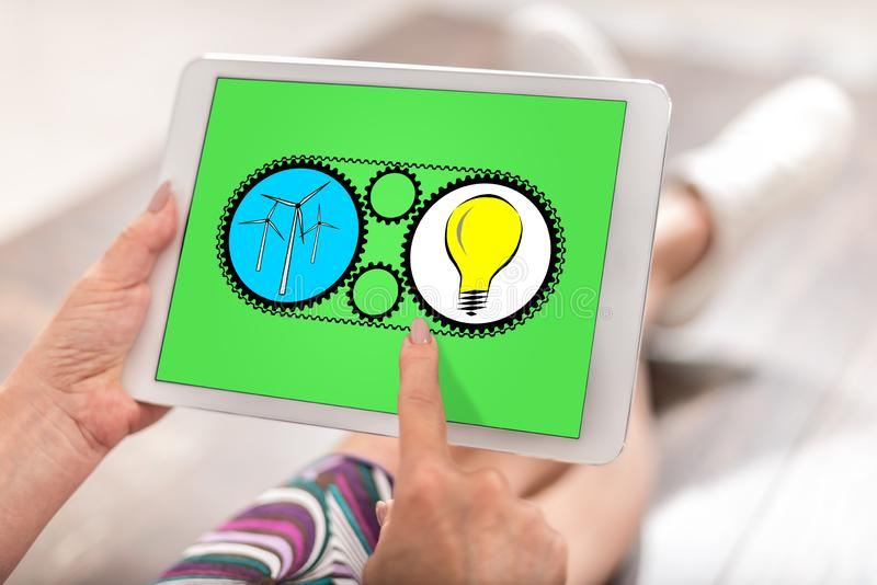 Clean energy concept on a tablet stock photos