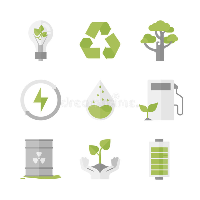 Clean energy and ecology protection flat icons set vector illustration