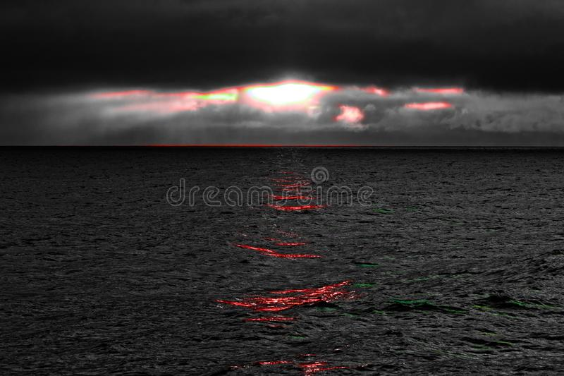 Clean energy of nature in stormy weather. Unstoppable arrays of water and wind power royalty free stock images