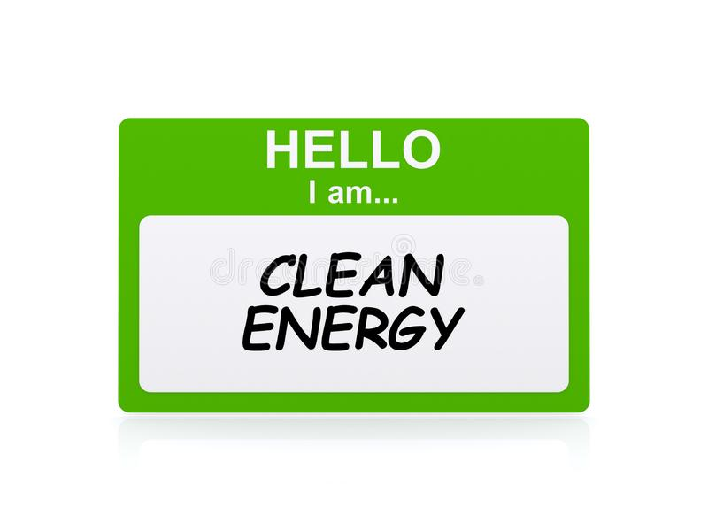 Clean energy tag. On white background royalty free illustration