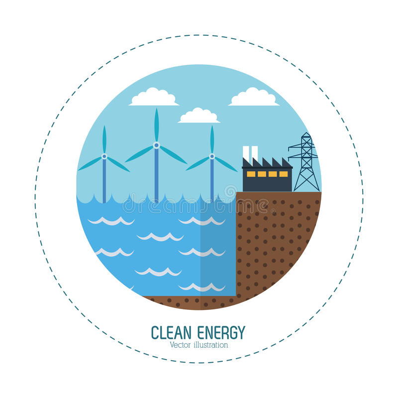 Clean energy tidal energy factory royalty free illustration