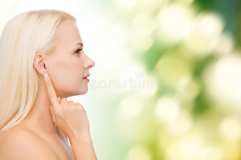 Clean face of beautiful young woman royalty free stock photo