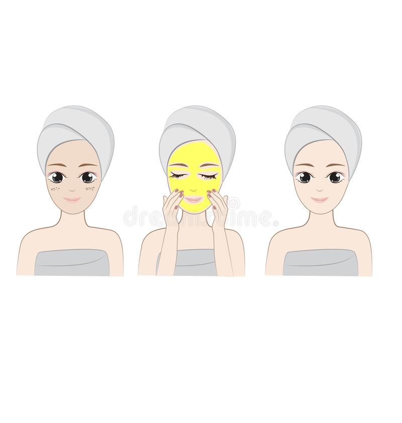 Clean face. Woman cleaning face on white background stock illustration
