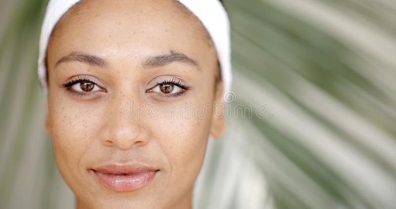 Clean Face Of A Young Woman stock images