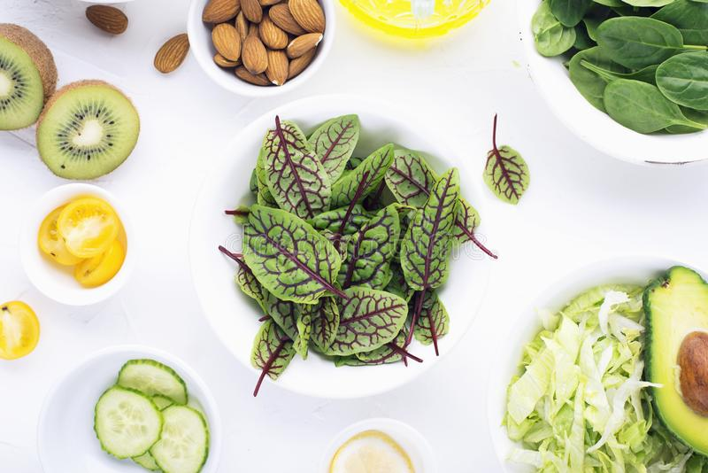 Clean food. Fresh raw vegetables and lettuce leaves to prepare a healthy snack meal salad. Top view. On a light stock image