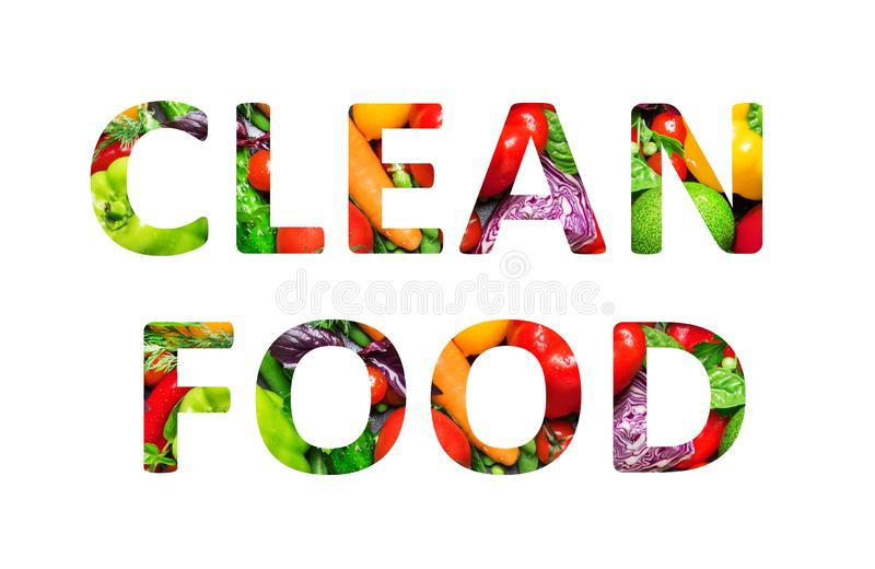 Clean food, multi-colored text cut out of vegetables photo, the inscription on white background. Clean food, multi-colored text cut out of vegetables photo, the stock illustration