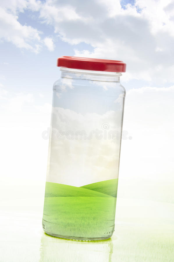 Clean Fresh Nature Preserved. In A Glass Jar (Nature Protection Against Pollution Concept stock images