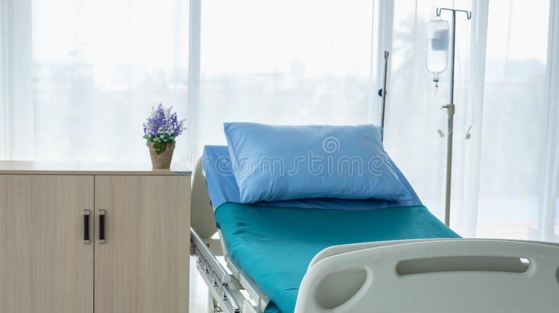 Clean and fully equipped hospital room stock images