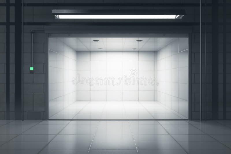 Download Clean Garage With Opened Door Stock Illustration - Illustration of illuminated, mockup: 97372404