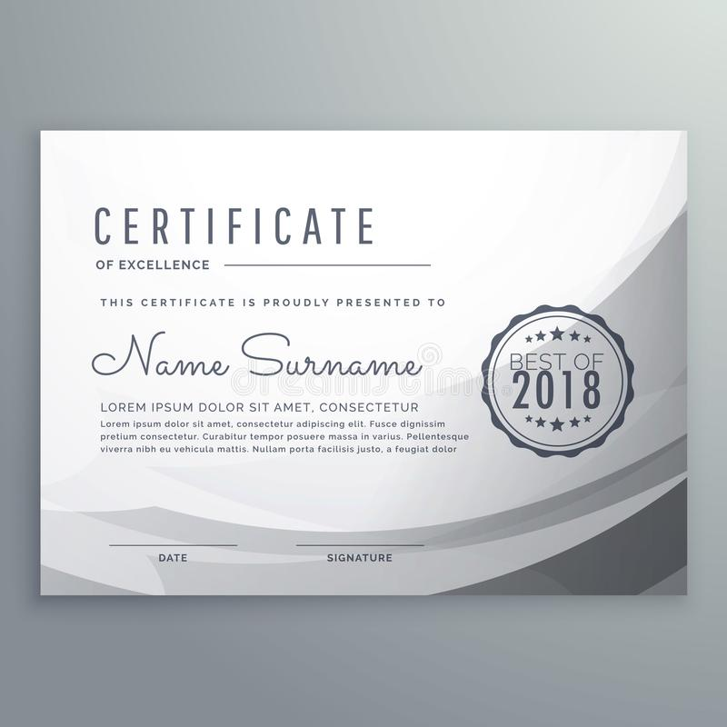 Clean gray diploma certificate design template stock illustration