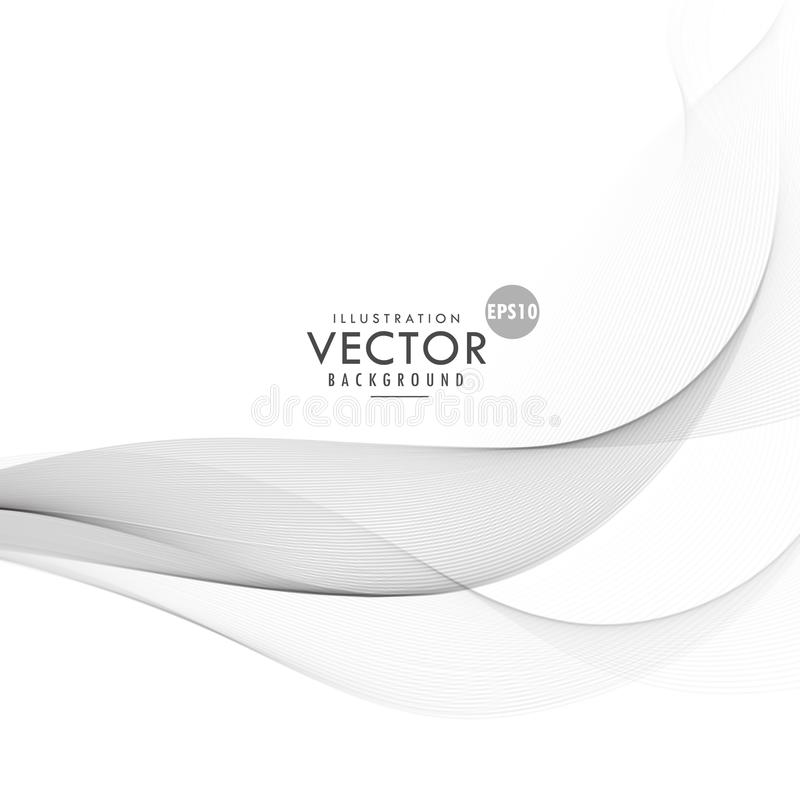Clean gray wave design on white background stock illustration