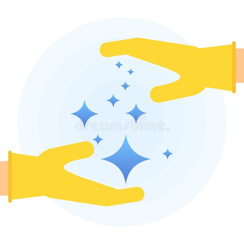 Clean hands poster. Hands in rubber glove holding stars of brilliance and radiance of clean and freshness in the house. Flat vector cartoon illustration. Objects vector illustration