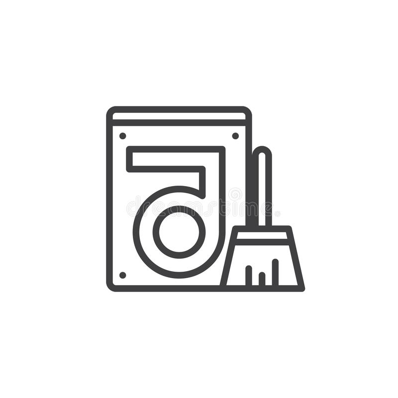 Clean hard drive disk line icon royalty free illustration