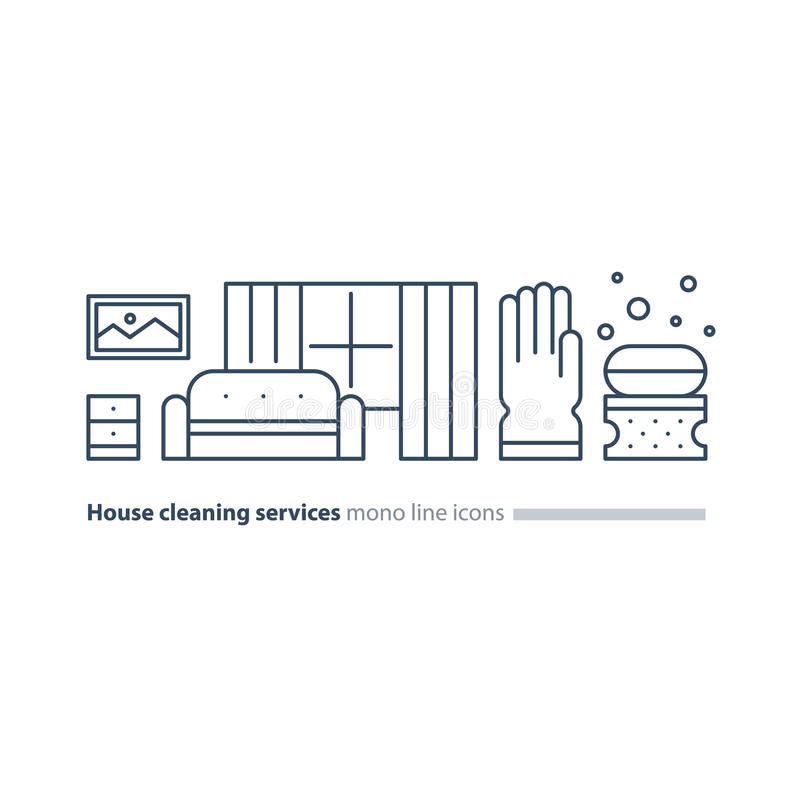 Clean House Maintenance Services Refresh Interior Line Icons Stock Photo Image Of Curtains