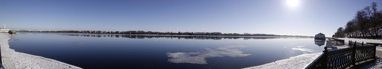 Clean from ice Spring River. S royalty free stock photography