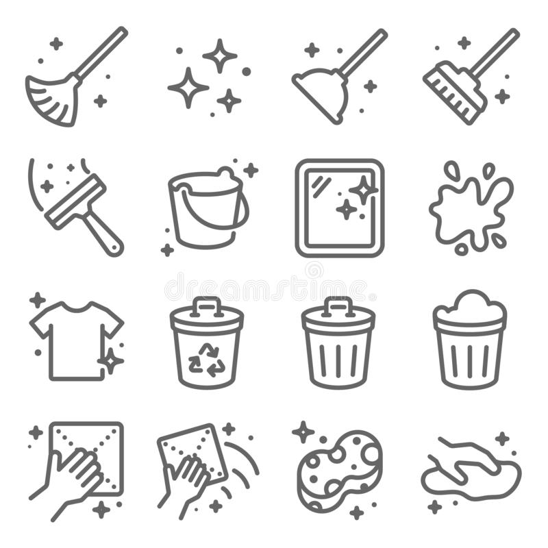 Clean icons set vector illustration. Contains such icon as Recycle, Cleaning, Clean Bucket, and more. Expanded Stroke. Clean icons set vector illustration vector illustration