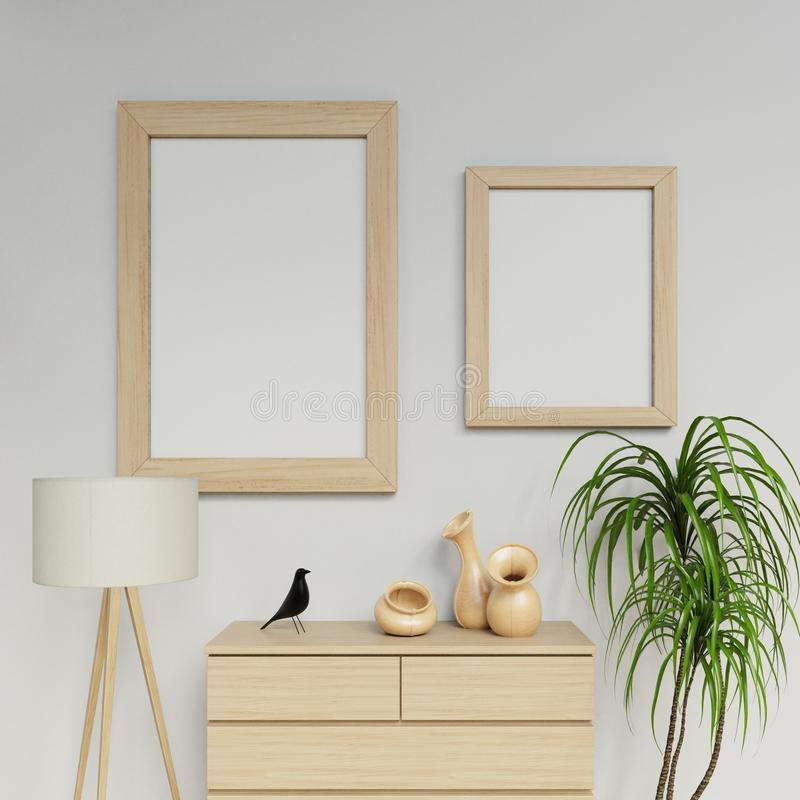 Clean interior space 3d rendering of two a1 and a2 poster mockup design with vertical wooden frame hanging on the clean white wall vector illustration