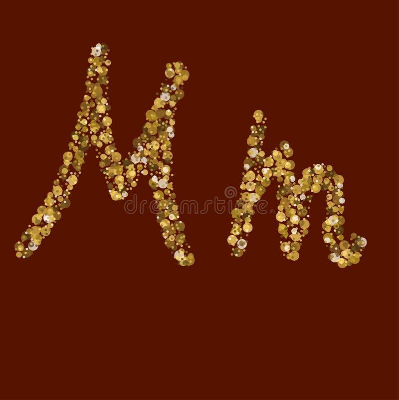 Nn golden glitter letter. vector illustration