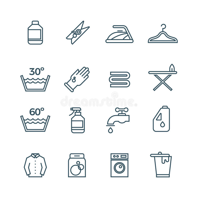 Clean laundry and dryer service vector line icons. Laundry icons set, illustration of temperature mode for laundry stock illustration