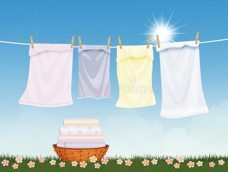 Clean laundry lying in the sun vector illustration