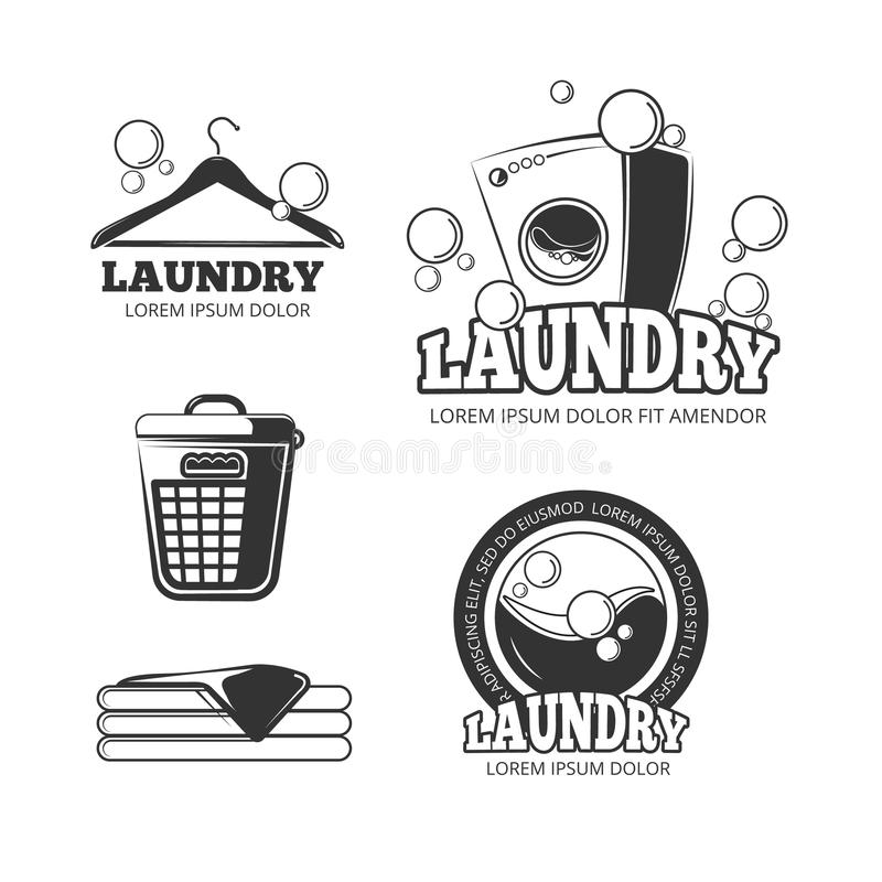 Clean laundry washing vintage vector labels, emblems, logos, badges set. Wash machine and bucket for dirty clothes illustation vector illustration