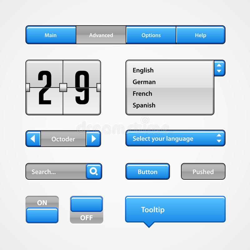 Clean Light Blue User Interface Controls. Web Elements. Website, Software UI: Buttons, Switchers, Arrows, Drop-down. Clean Light Blue User Interface Controls vector illustration