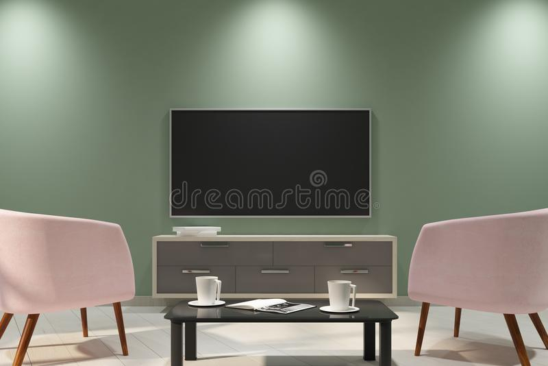 Clean light interior with empty TV. And furniture. Mock up, 3D Rendering royalty free illustration