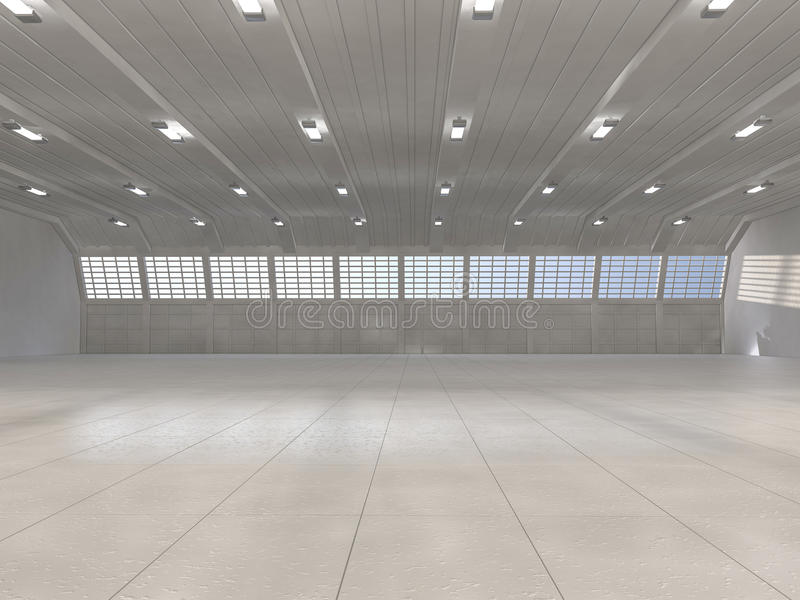 Clean light warehouse background. 3D. Rendering royalty free illustration