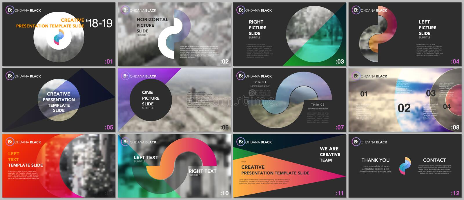 Clean and minimal presentation templates. Colorful elements on a black background. royalty free illustration