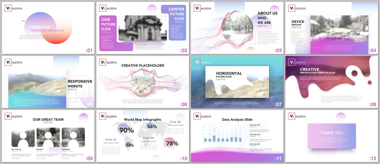 Clean and minimal presentation templates. Colorful elements on white background for your portfolio. stock illustration