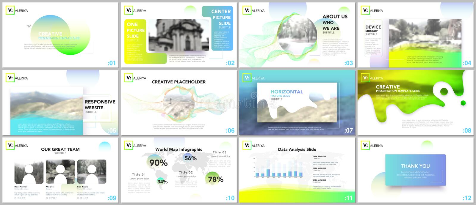 Clean, minimal presentation templates. Colorful elements on white background for your portfolio. stock illustration