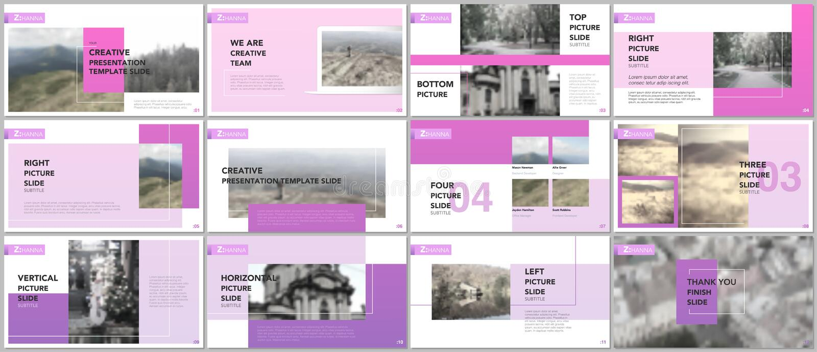 Clean and minimal presentation templates. Purple color elements on white. Presentation slides for flyer, leaflet, brochure vector illustration