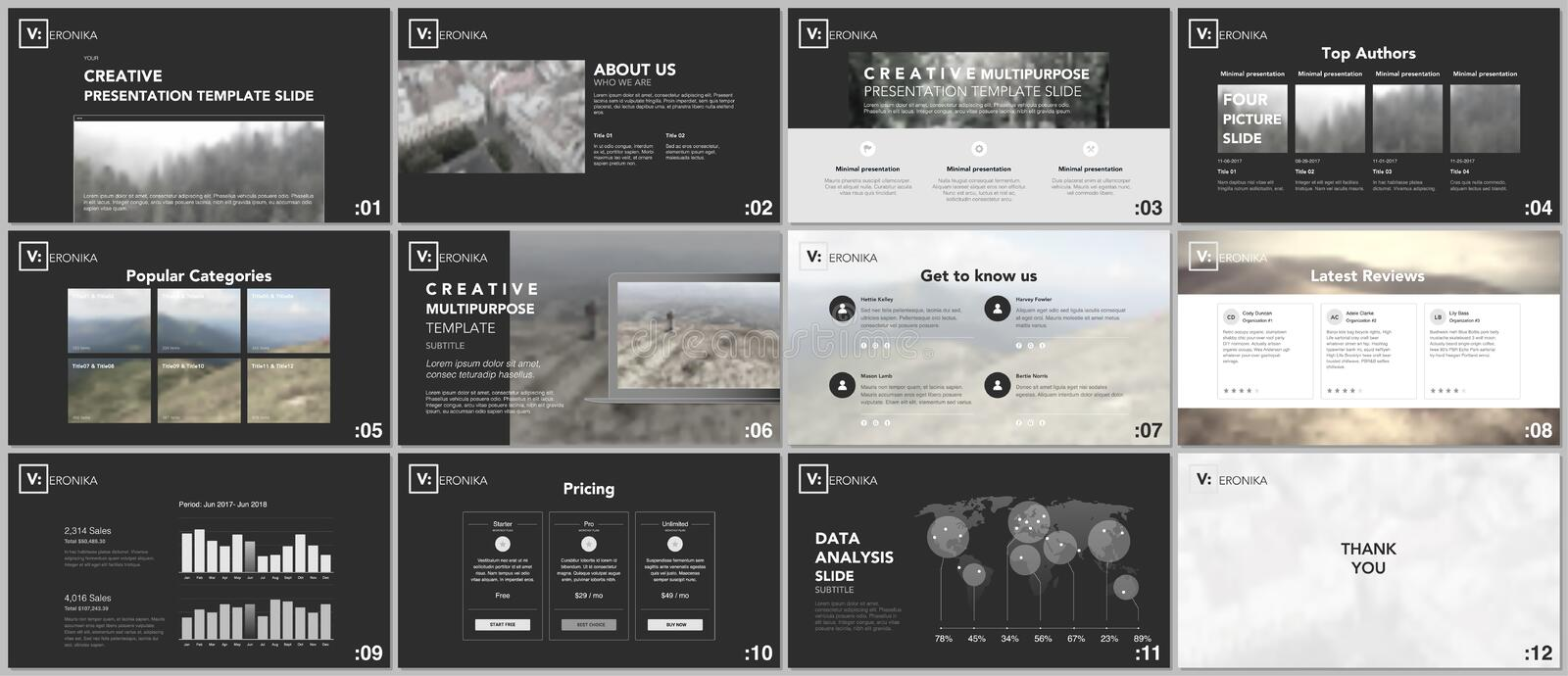 Clean, minimal presentation templates. Simple elements on black background for your portfolio template. vector illustration