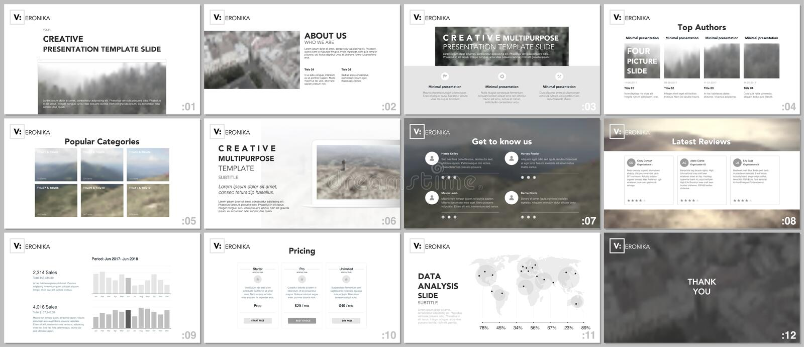 Clean, minimal presentation templates. Simple elements on white background for your portfolio template. vector illustration