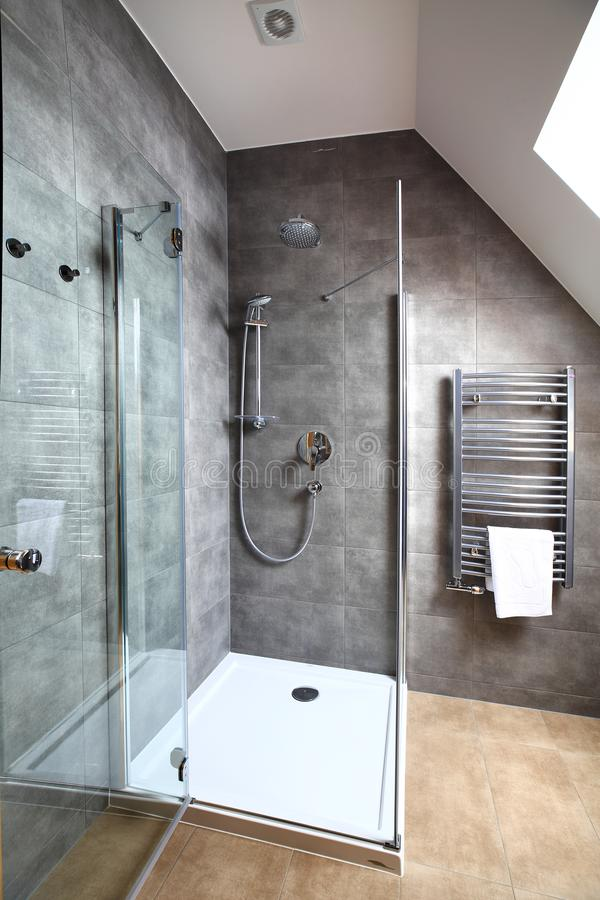 Clean modern interior of small bathroom royalty free stock image
