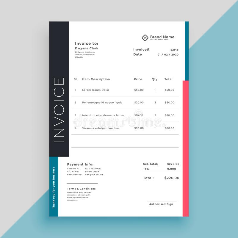 Clean modern invoice business template royalty free illustration