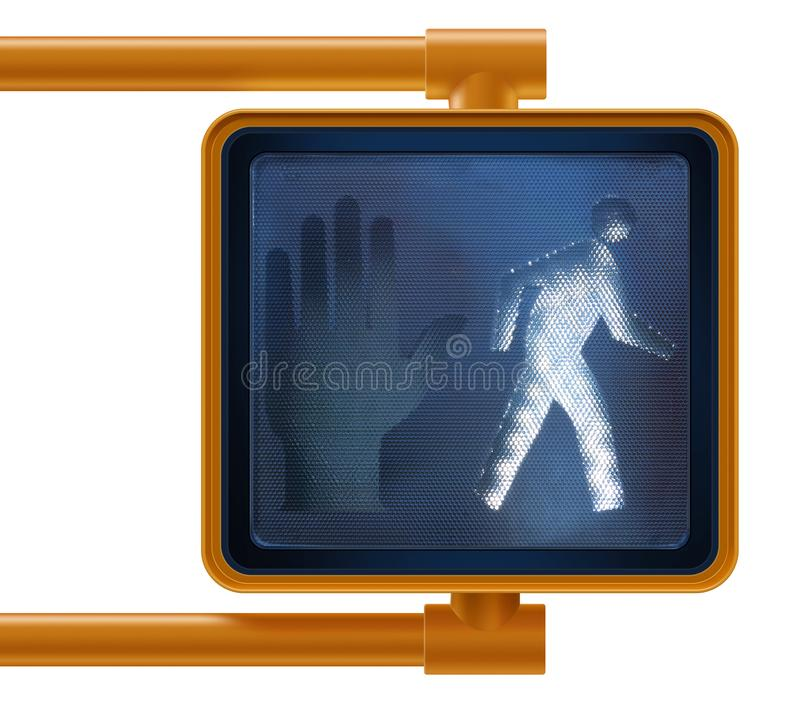 Clean, modern, Manhattan new york, walk don`t walk pedestrian crosswalk street sign on blue sky stock image