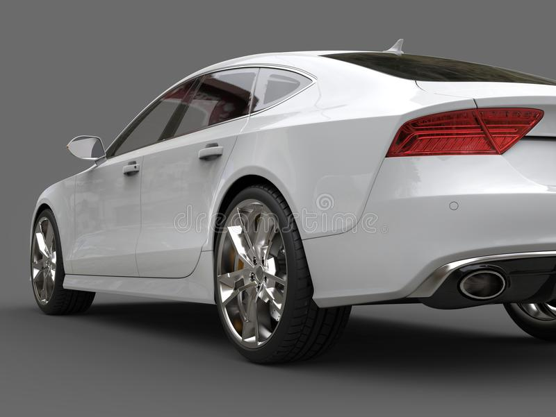Clean modern white business car - tail low angle shot. Isolated on white background royalty free stock photos