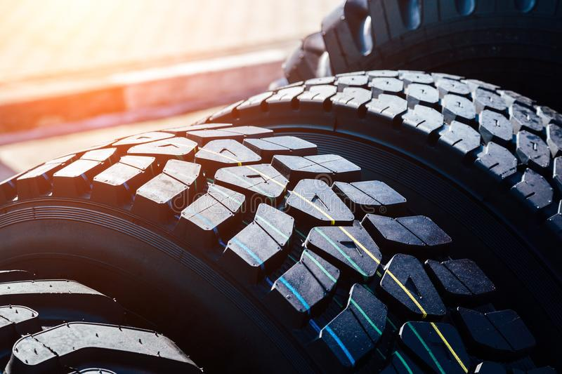 Clean new modern truck tire. Close up view of surface royalty free stock images