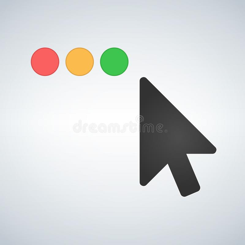 Clean OS or Web multicolor buttons with mouse cursor. Close minimize zoom full screen and expand button. Flat vector illustration vector illustration