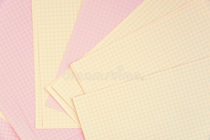 Clean pages in a cage, laid out on a table. Blank pages in cage, laid out on a table. Copy space royalty free stock photography