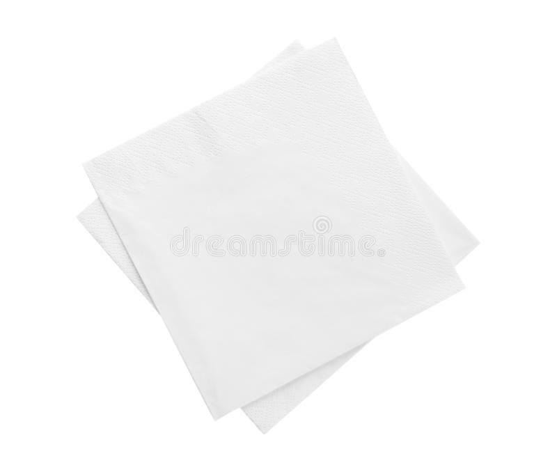 Clean paper napkins on white background. Top view royalty free stock photography