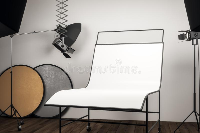 Clean photo studio with background. Clean photo studio interior with professional equipment and empty white background table. Mock up, 3D Rendering royalty free illustration