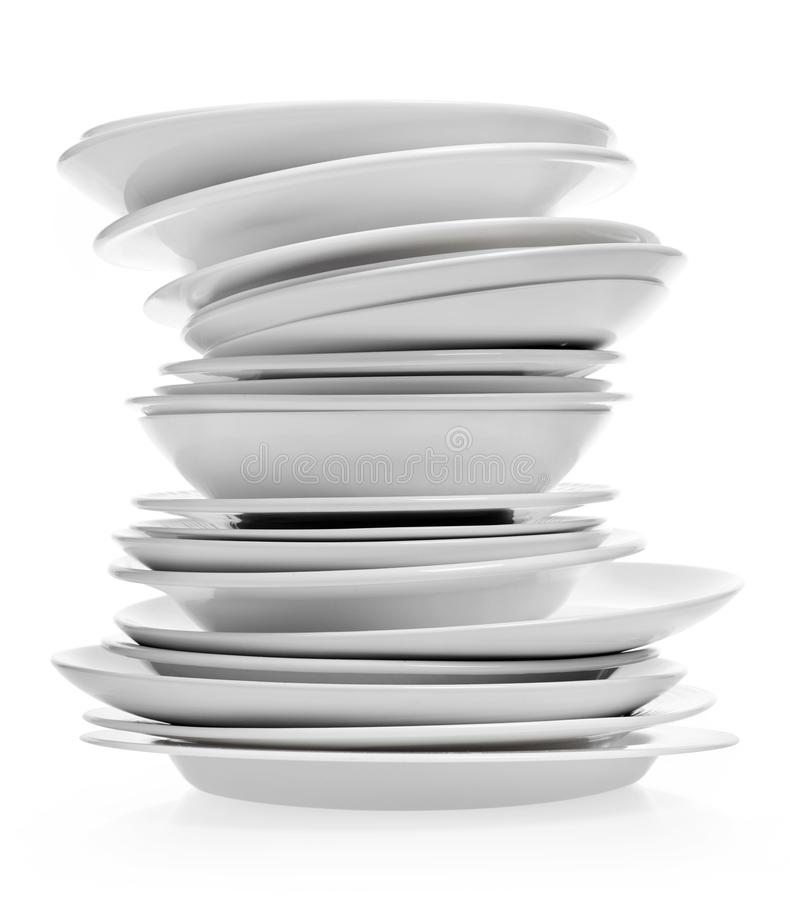 Clean plates on white royalty free stock photos