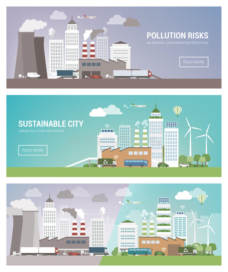 Clean and polluted city royalty free illustration