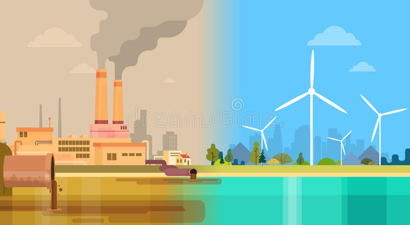 Clean And Polluted Dirty City Environmental Green Energy Concept Wind vector illustration