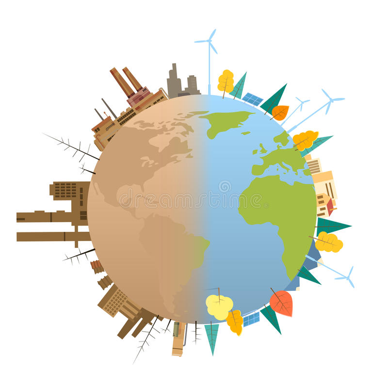 Clean And Polluted Earth Planet Globe royalty free illustration